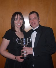 Mark and Sarah with Trainer of the Year Trophy